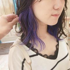 ミディアム ガーリー パープル ヘアアレンジ ヘアスタイルや髪型の写真・画像