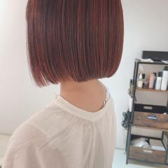ナチュラル 切りっぱなしボブ ピンクベージュ ピンクアッシュ ヘアスタイルや髪型の写真・画像