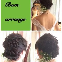 コンサバ 編み込み ヘアアレンジ セミロング ヘアスタイルや髪型の写真・画像