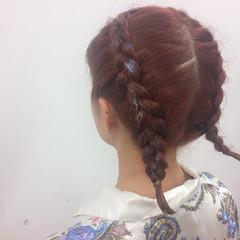 簡単ヘアアレンジ ヘアアレンジ ストリート 編み込み ヘアスタイルや髪型の写真・画像