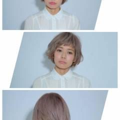 春 ガーリー ボブ ダブルカラー ヘアスタイルや髪型の写真・画像