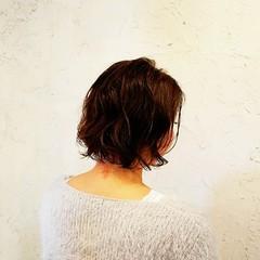 デジタルパーマ ゆるふわ ヘアワックス ボブ ヘアスタイルや髪型の写真・画像