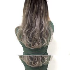 暗髪 ストリート アッシュグレージュ セミロング ヘアスタイルや髪型の写真・画像