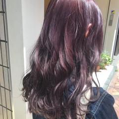 フェミニン セミロング ラベンダーピンク ラベンダーアッシュ ヘアスタイルや髪型の写真・画像