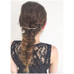 大人かわいい フィッシュボーン ロング ヘアアレンジ ヘアスタイルや髪型の写真・画像
