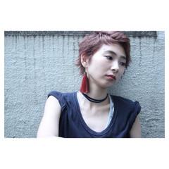 ショート ストリート ピンク ピンクアッシュ ヘアスタイルや髪型の写真・画像
