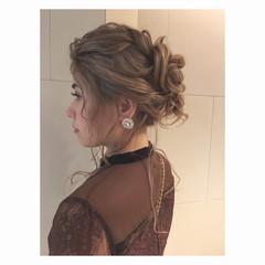 結婚式 ガーリー デート セミロング ヘアスタイルや髪型の写真・画像