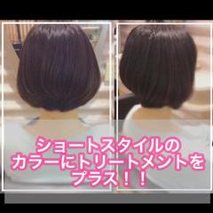 ミニボブ ミディアム 切りっぱなしボブ 髪質改善トリートメント ヘアスタイルや髪型の写真・画像