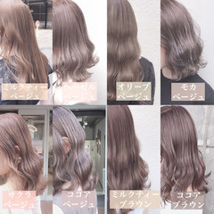 ミディアム ミルクティーベージュ アッシュグレージュ オリーブベージュ ヘアスタイルや髪型の写真・画像