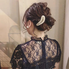 成人式 ナチュラル お団子アレンジ セミロング ヘアスタイルや髪型の写真・画像
