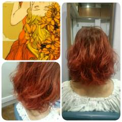 ストリート イエロー オレンジ 春 ヘアスタイルや髪型の写真・画像