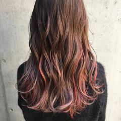 ガーリー ベリーピンク ピンク セミロング ヘアスタイルや髪型の写真・画像