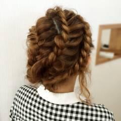 コンサバ ロング パーティ 編み込み ヘアスタイルや髪型の写真・画像