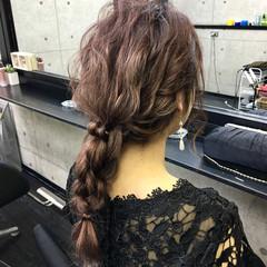 結婚式 編みおろし ロング ヘアセット ヘアスタイルや髪型の写真・画像