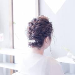 編み込み 波ウェーブ パーティ ボブ ヘアスタイルや髪型の写真・画像