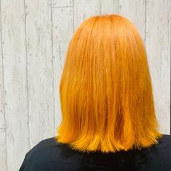 ヘアアレンジ オレンジカラー ガーリー ボブ ヘアスタイルや髪型の写真・画像