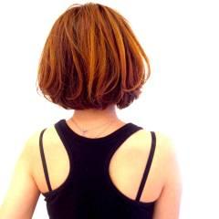 モテ髪 ボブ 愛され オレンジ ヘアスタイルや髪型の写真・画像