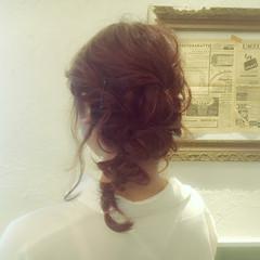セミロング ヘアアレンジ 簡単ヘアアレンジ ゆるふわ ヘアスタイルや髪型の写真・画像
