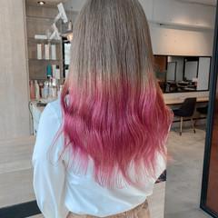 ガーリー 透明感カラー ロング ミルクティーベージュ ヘアスタイルや髪型の写真・画像