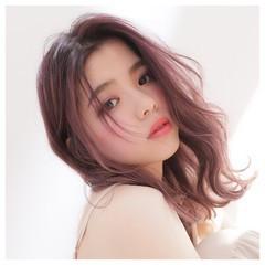 パープルカラー ラベンダーピンク ベリーピンク ピンクパープル ヘアスタイルや髪型の写真・画像