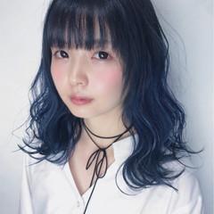 モード 外国人風 ハイライト ミディアム ヘアスタイルや髪型の写真・画像