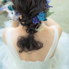 結婚式 ヘアアレンジ ドライフラワー ナチュラル ヘアスタイルや髪型の写真・画像