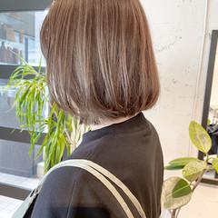 ナチュラル 透明感カラー 切りっぱなしボブ 韓国ヘア ヘアスタイルや髪型の写真・画像