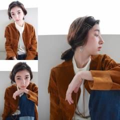 外国人風 パーマ ミディアム ヘアアレンジ ヘアスタイルや髪型の写真・画像