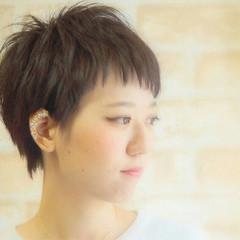 前髪あり ガーリー 暗髪 ショート ヘアスタイルや髪型の写真・画像