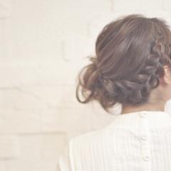 パーティ ロング お団子 ナチュラル ヘアスタイルや髪型の写真・画像