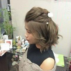 ミディアム ハーフアップ ナチュラル ヘアアレンジ ヘアスタイルや髪型の写真・画像