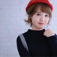 大人女子 ボブ ベレー帽 ヘアアレンジ ヘアスタイルや髪型の写真・画像