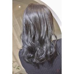 ネイビージュ ネイビーカラー ロング ブルーブラック ヘアスタイルや髪型の写真・画像