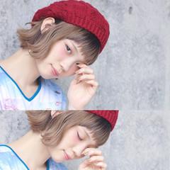 透明感 ボブ 外ハネ ベレー帽 ヘアスタイルや髪型の写真・画像