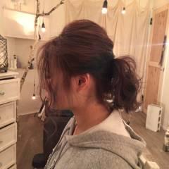 ポニーテール ヘアアレンジ ミディアム ヘアスタイルや髪型の写真・画像