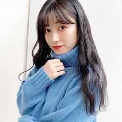 黒髪 フェミニン 韓国風ヘアー レイヤーロングヘア ヘアスタイルや髪型の写真・画像