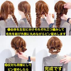 アウトドア ロング 簡単ヘアアレンジ フェミニン ヘアスタイルや髪型の写真・画像