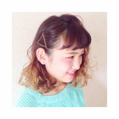 かわいい ミディアム 簡単ヘアアレンジ ヘアピン ヘアスタイルや髪型の写真・画像