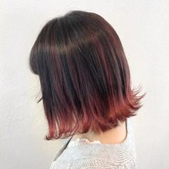 ピンク ハイライト フェミニン ボブ ヘアスタイルや髪型の写真・画像