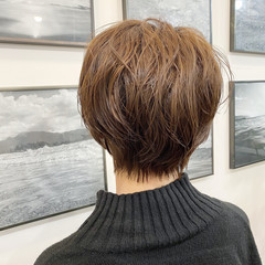 ナチュラル ワンカールパーマ 無造作パーマ ショートヘア ヘアスタイルや髪型の写真・画像