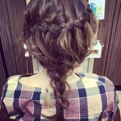 ヘアアレンジ 波ウェーブ 結婚式 セミロング ヘアスタイルや髪型の写真・画像