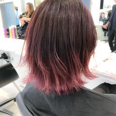 ボブ ハイトーン ピンク フェミニン ヘアスタイルや髪型の写真・画像