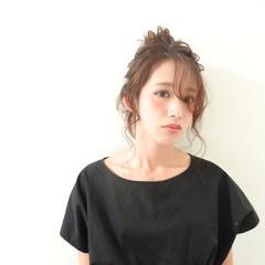 簡単ヘアアレンジ ブラウン 外国人風 ゆるふわ ヘアスタイルや髪型の写真・画像