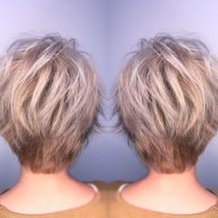 外国人風 ハイライト アッシュ ショート ヘアスタイルや髪型の写真・画像