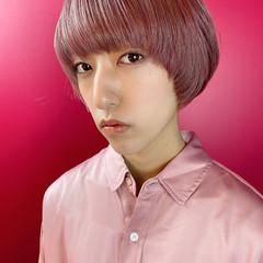 ダブルカラー ピンク マッシュ ペールピンク ヘアスタイルや髪型の写真・画像