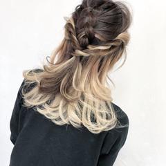 アッシュ ガーリー セミロング インナーカラー ヘアスタイルや髪型の写真・画像