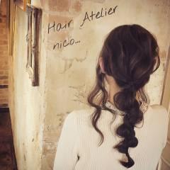 セミロング ヘアアレンジ ストリート ナチュラル ヘアスタイルや髪型の写真・画像