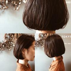 黒髪 ボブ パーマ ナチュラル ヘアスタイルや髪型の写真・画像