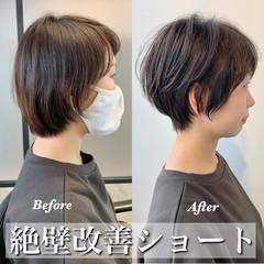 ベリーショート ショートボブ ショートヘア ナチュラル ヘアスタイルや髪型の写真・画像
