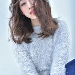 ゆるふわ かわいい 色気 セミロング ヘアスタイルや髪型の写真・画像
